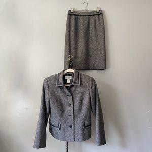 Pendleton Gray Tweed Silk Lambswool Leather Suit